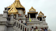 Stock Video Footage of Thailand Bangkok 017 temple, golden rooftops and stairs with people