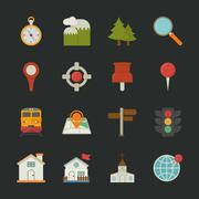Map icons and location icons , flat design Stock Illustration