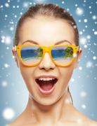 amazed girl in shades - stock illustration