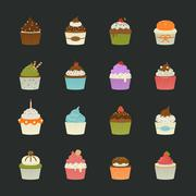 sweet cupcakes icons - stock illustration