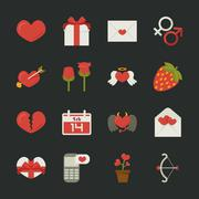 Valentine's day icons, love symbols  , flat design Stock Illustration