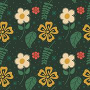 flowers seamless pattern - stock illustration