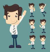 set of businessman characters poses - stock illustration