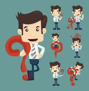 set of businessman characters poses with question marks - stock illustration
