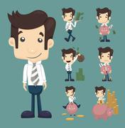 set of businessman make money characters poses - stock illustration