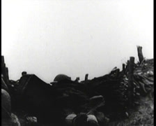 WW1 - French Soldiers Hiding In Trenches 01 Stock Footage