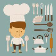chef and tool character, flat design - stock illustration