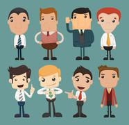 Set of businessman characters poses , office worker Stock Illustration