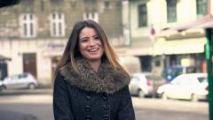 Portrait of happy beautiful young woman in the city, slow motion HD Stock Footage