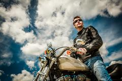 biker on a motorcycle - stock photo
