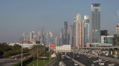 Dubai Skyline Downtown World Trade Center Financial District Crowded Highway Car Stock Footage