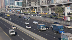 Rush Hour Dubai Highway Freeway Sheikh Zayed Road Busy City Cars Traffic Jam Bus Stock Footage
