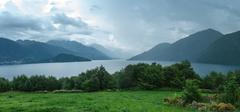 Fjord in a hazy weather, Norway - stock photo