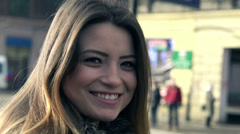 Portrait of happy young funny woman in the city HD Stock Footage