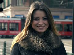 Portrait of happy young funny woman in the city NTSC Stock Footage