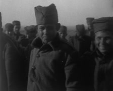WW1 - Serbian Boy Soldiers Watching Serbian Dagger Dance 01 Stock Footage