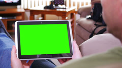 Man with Green Screen Tablet PC Stock Footage