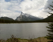 Mount Rundle as seen from Vermilion Lakes on a grey day, Banff National Park Stock Footage