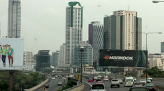 Thailand Bangkok 005 skyscrapers at the highway Stock Footage