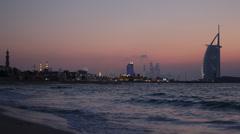 Illuminated Dusk Lights Dubai Marina Skyline Burj Al Arab Panoramic View Beach Stock Footage