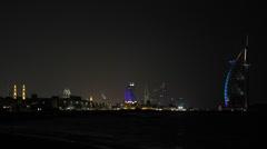 Illuminated Evening Nightfall Night Dubai Marina Skyline Burj Al Arab Jumeirah Stock Footage