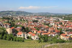 Town of alba in piedmont, northern italy. Stock Photos