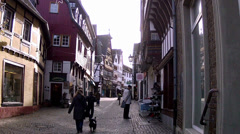 Tourists in small German town (Bad Munstereifel). Stock Footage