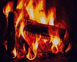 Stock Photo of fireplace with birch firewood and flame.