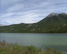 Panoramic view Talbot lake taken from Yellowhead higway Jasper national park Stock Footage