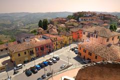 aerial view on diano d'alba in northern italy. - stock photo