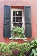 charleston old town house window - stock photo