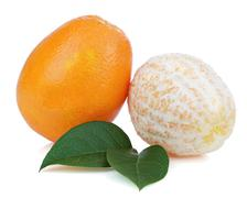 Orange fruits with green leaves isolated on white background. Stock Photos