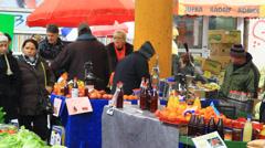 Markale - Fruit and Vegetable Market, Sarajevo Stock Footage