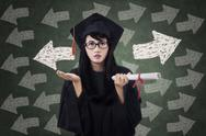 Stock Illustration of confused female student in graduation gown