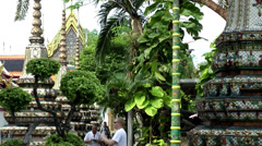 Thailand Bangkok 039 exotic plants and constructions in yard of wat pho temple Stock Footage