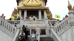 Thailand Bangkok 013 symmetrical stairs up to the temple Stock Footage