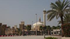 UAE Dubai Old Windtowers Minaret Grand Mosque Bur Dubai Historic City Arabia Day Stock Footage