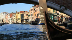 Gondola close up, Venetians & tourists out of focus Stock Footage