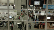Stock Video Footage of Conference center crowd through window HD BM 1509