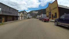 Gold Rush Town Modern Storefronts Dawson City POV 1 Stock Footage