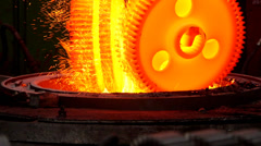 Heat treatment details stock footage melting metal, fuse, melting, melt, fusion, Stock Footage