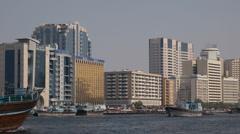 Freight Ship Boat Traditional Cargo Dhow Arabian Transportation Dubai Docks UAE Stock Footage