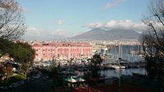 Naples seaside with Mount Vesuvius Stock Footage