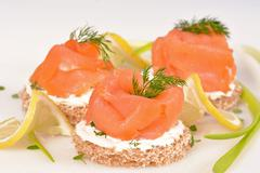 sandwich with smoked salmon - stock photo