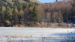 ROAD NEAR BY THE FROZEN LAKE Stock Footage