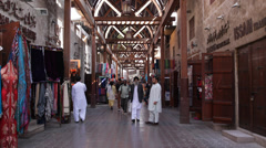 Interior Dubai Old Souq Souk Narrow Street People Crowds Shopping Landmark Arab Stock Footage