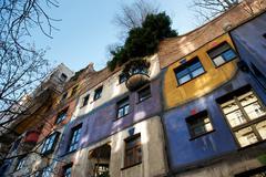 Hundertwasser house in autumn, vienna, austria Stock Photos