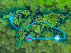 Stock Photo of symbol of the electric cars on world map, concept