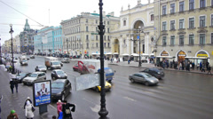 Day car traffic and crowdy pavement of Nevsky prospect Stock Footage