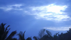 Sri Lanka Light rays blast through blue clouds Stock Footage
